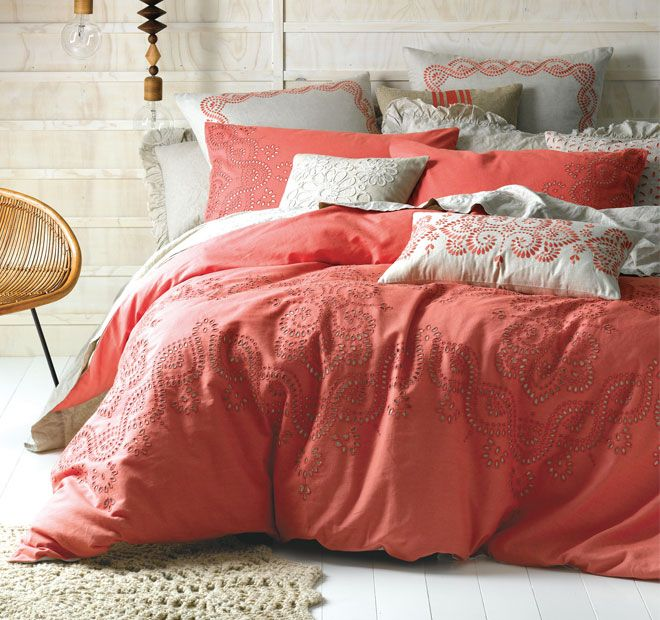 Linen House Naturals Rosie Queen Bed Quilt Cover Set Coral ...