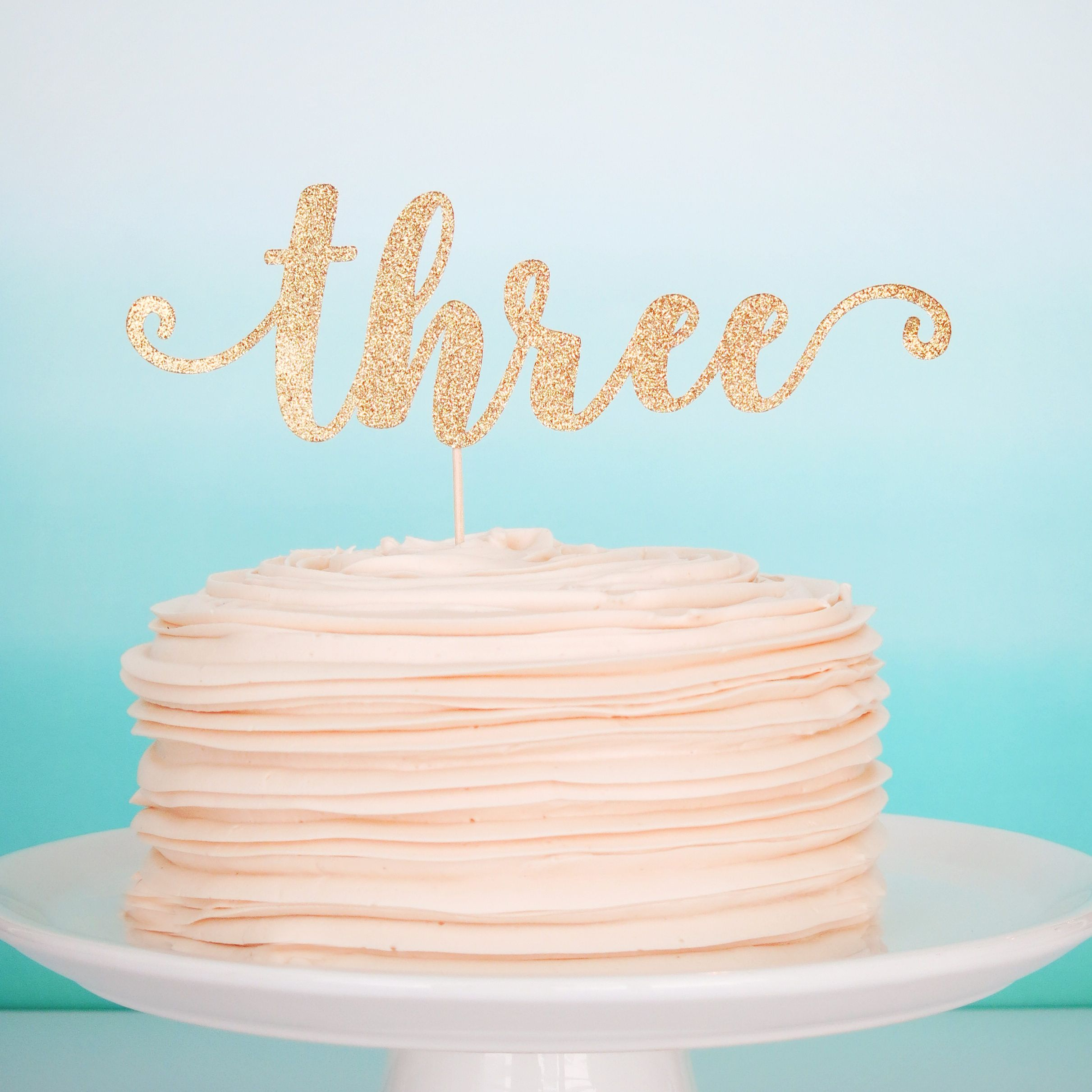 Three Cake Topper Third Birthday Pink And Gold 3rd Glitter By PGPaperDesign On Etsy