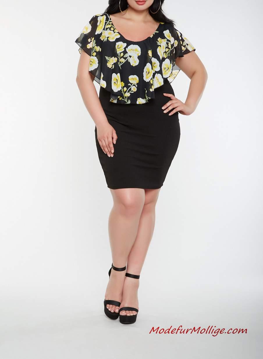Große größe Schwarzes Mini Chiffon Blumenkleid #mode # ...