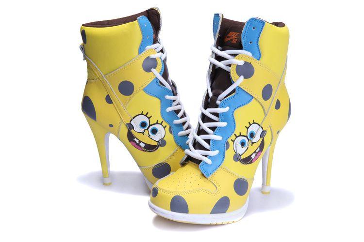 Nike Dunk SB High Heels Shoes Yellow Blue