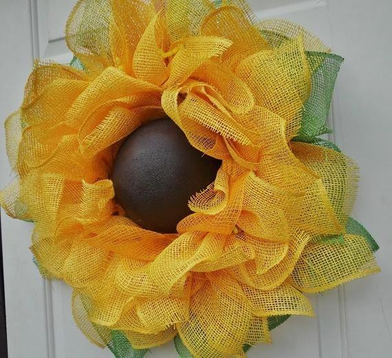 Photo of Sunny Sunflower wreath, Sun flower wreath, front door wreath,  Wreath for front door, burlap wreath, flower wreath, sunflower wreath, wreath