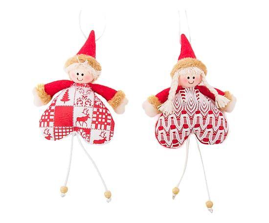 Set di 2 decorazioni in tessuto Doll rosso e bianco ass., 15x25x4 cm