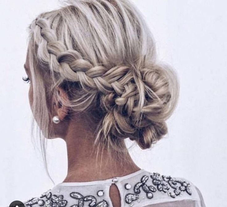 Messy Braid Into Low Bun Braided Hairstyles Updo Short Hair Updo Wedding Hair And Makeup
