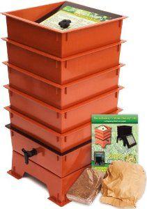 Amazon com: Worm Factory DS5TT 5-Tray Worm Composter, Terra Cotta