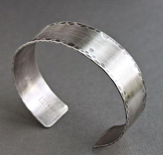 Silver Band Bracelet: Mens Rustic Cuff Bracelet Sterling Silver Wide Band
