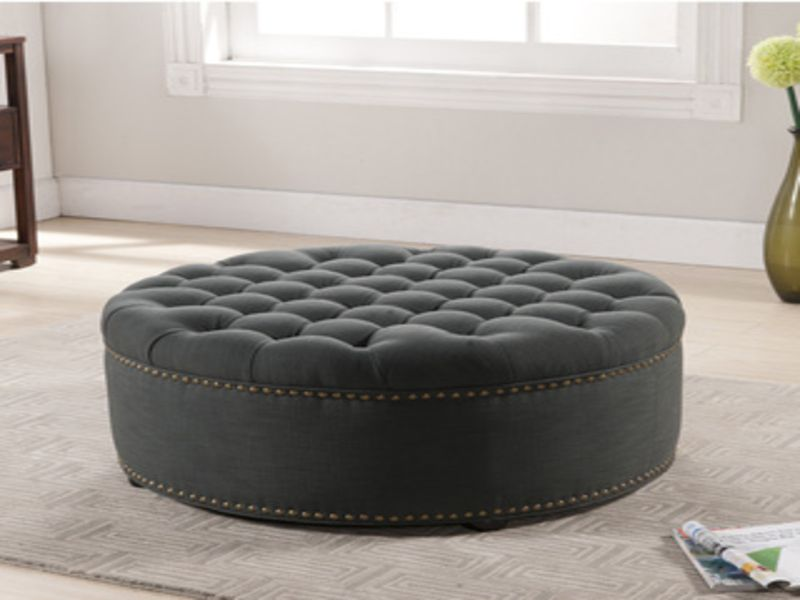 Superbe Top Large Tufted Ottoman Round Leather Ottomans Coffee Tables Large Round  Tufted Ottoman