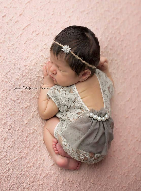 Newborn Baby Girls Lace Jumpsuits Romper Photography Prop Outfit