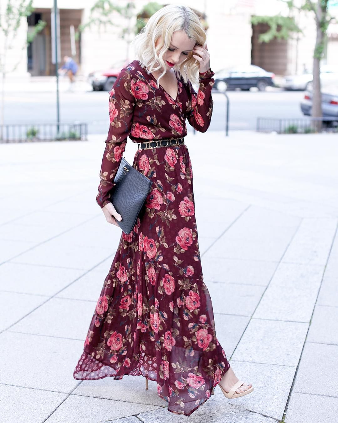 Cathy On Instagram Falling Back In Love With Abercrombie Thanks To This Gorgeou Long Sleeve Floral Maxi Dress Maxi Dresses Casual Wedding Guest Outfit Fall [ 1350 x 1080 Pixel ]