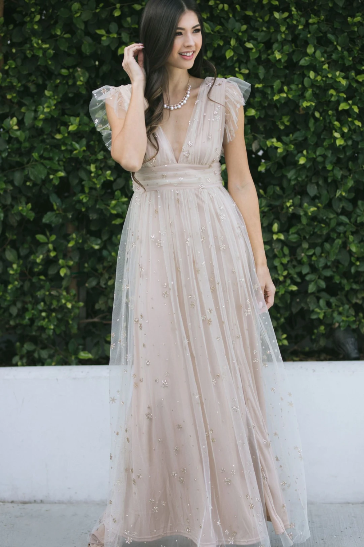 Wendy Tulle Ruffle Sleeve Maxi Dress Cute Maxi Dress Maxi Dress With Sleeves Dresses [ 1500 x 1000 Pixel ]