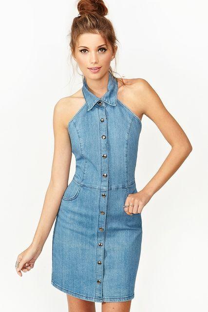 Askili Kot Elbise Modeli Denim Dress Fashion Women Dress Online