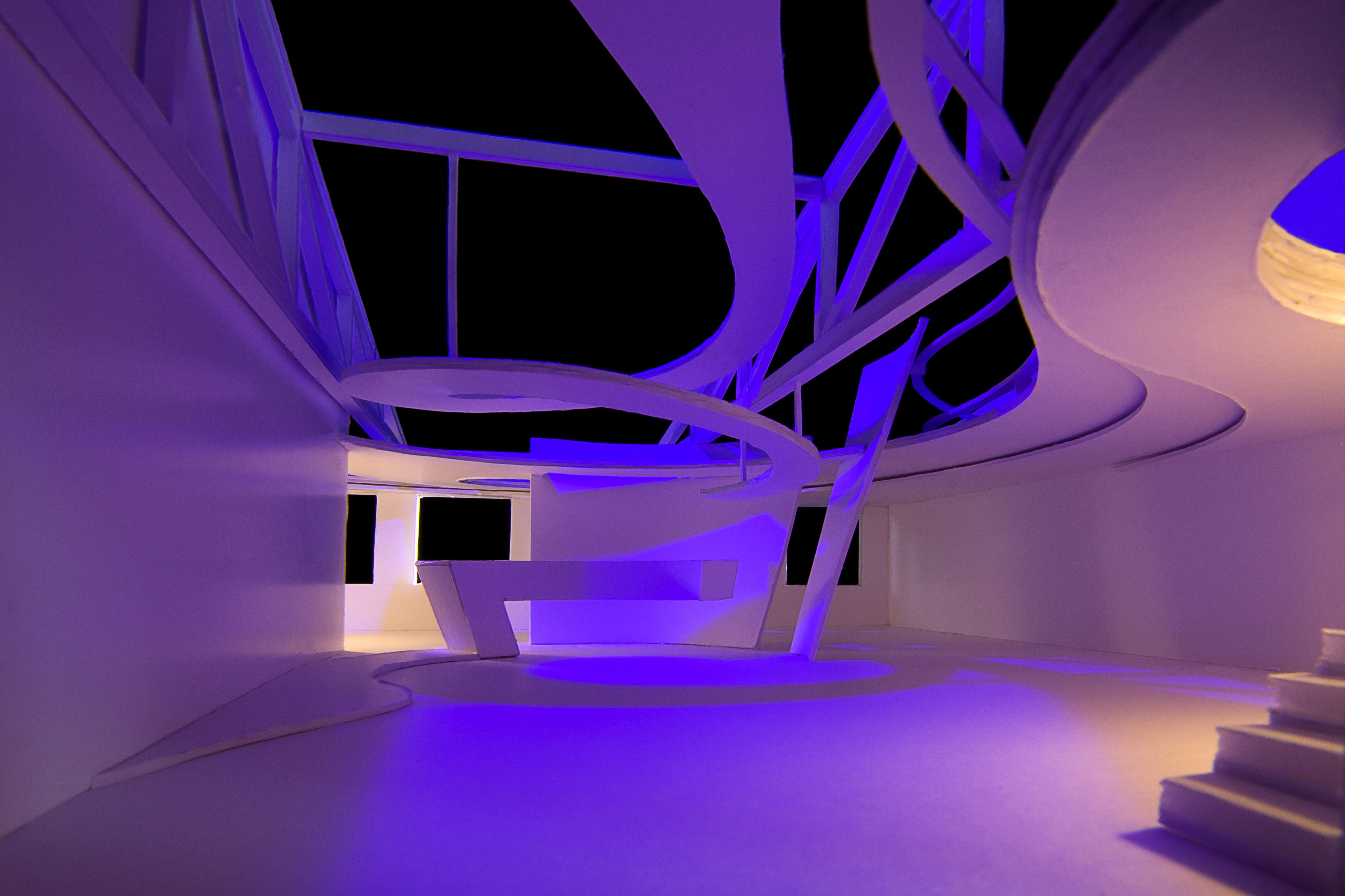 Light Center Speyer - architectural model in purple by Peter Stasek Architect