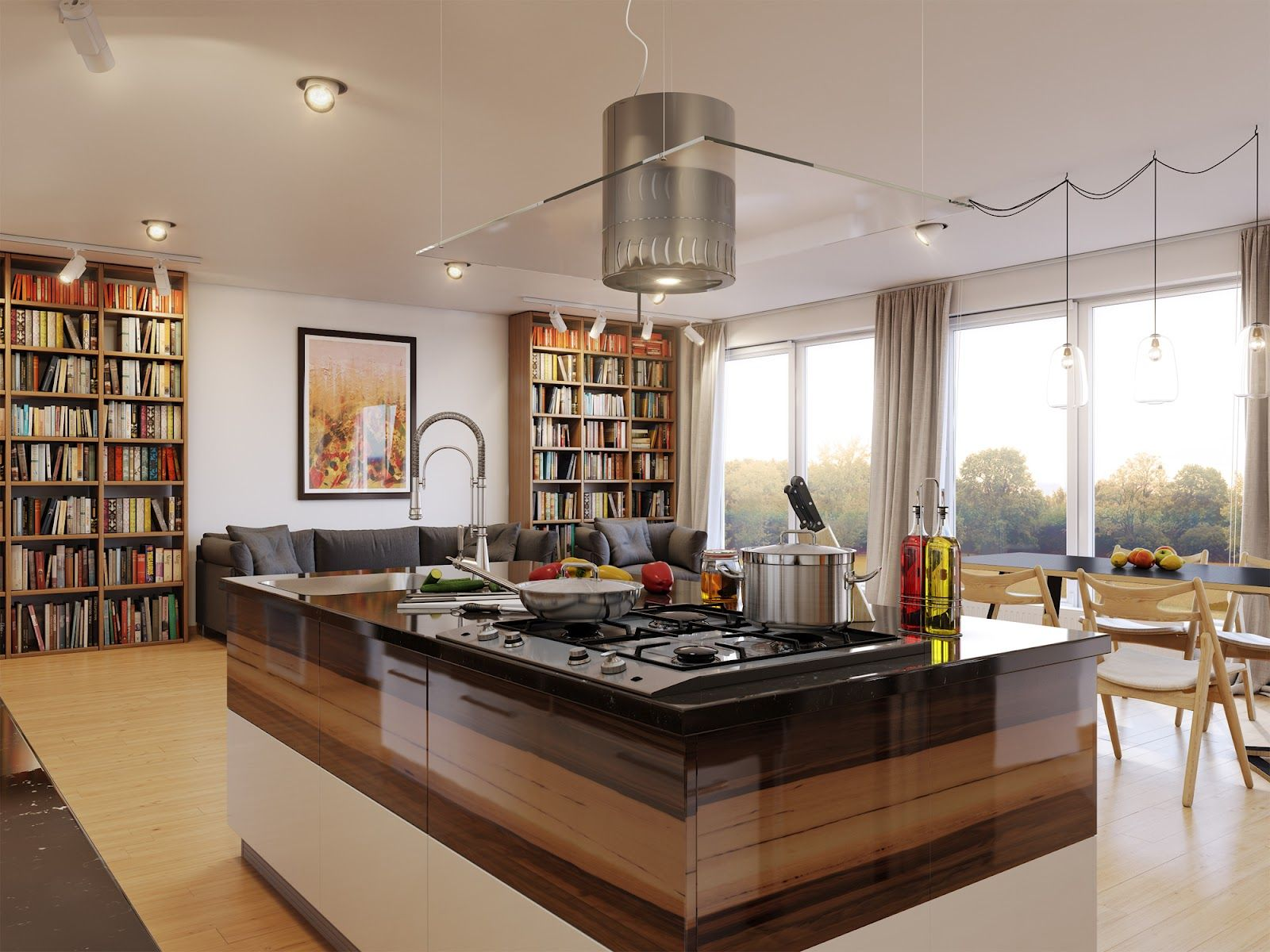 White brown kitchen library scheme by dmitry kobtsev on home designing com