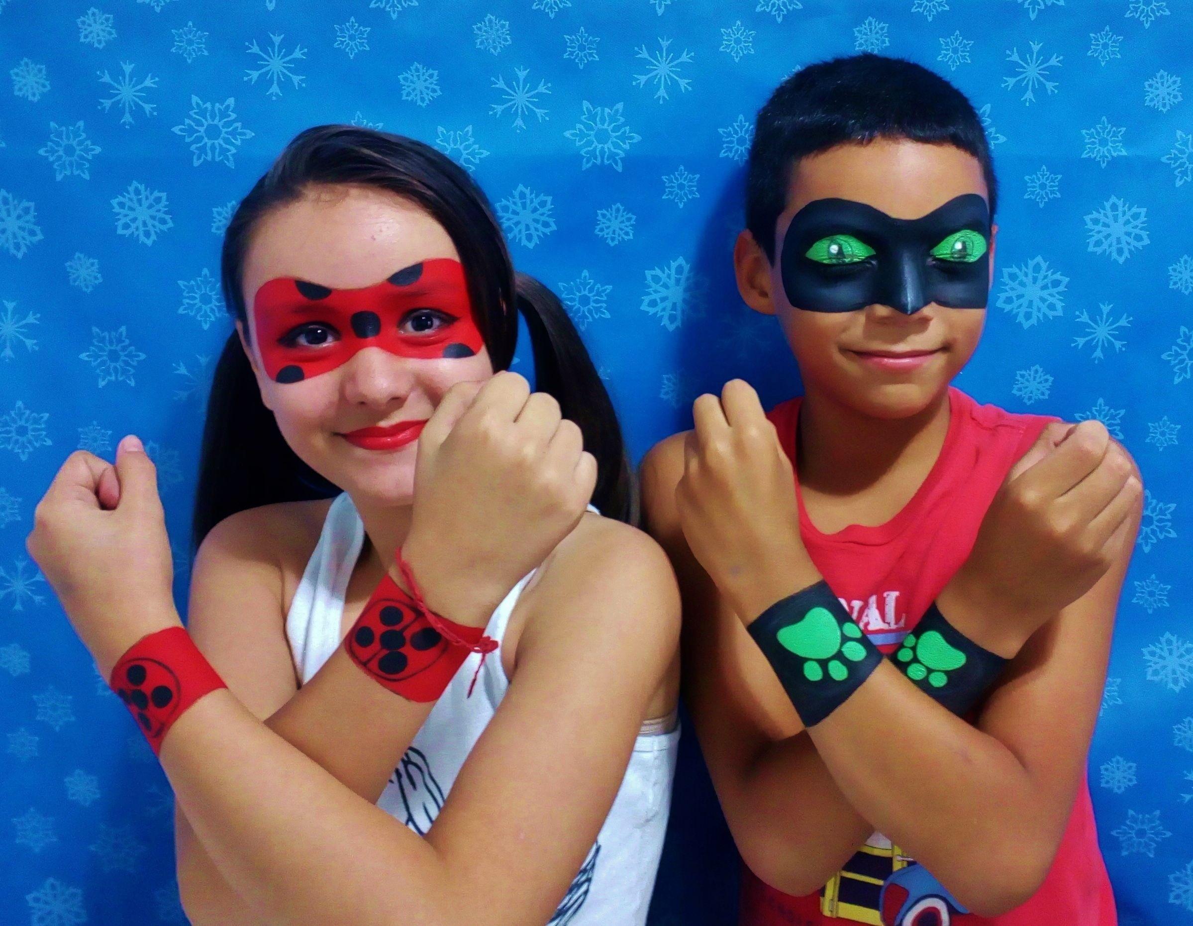 Sarah Cruz Pintura Facial Ladybug E Cat Noir Face Painting Maquillaje Infantil Caras Pintadas Maquillaje Para Ninas