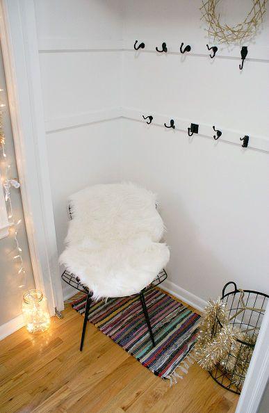 diy holiday party coat hanger, christmas decorations, foyer, home decor, organizing, seasonal holiday decor, storage ideas