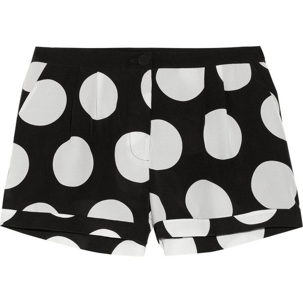 Mason by Michelle Mason Dot-print silk crepe de chine shorts ($87) found on Polyvore featuring shorts, bottoms, black, silk shorts, black polka dot shorts, black silk shorts, black shorts and low rise shorts