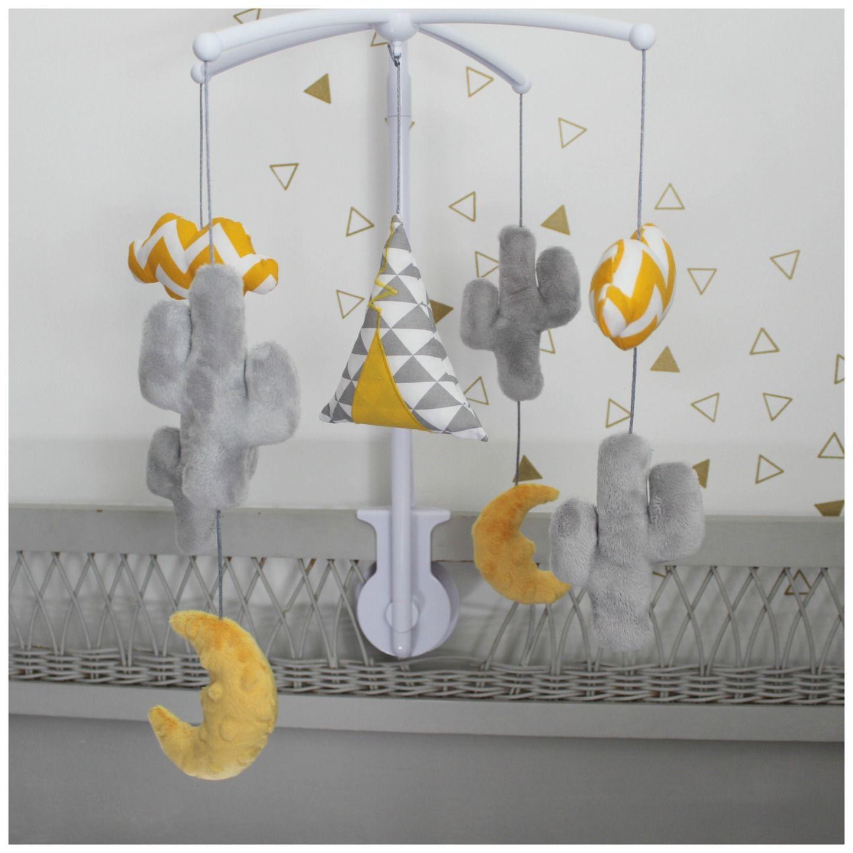 Mobile musical cactus et tipi g om trique jaune et gris pinterest - Mobile bebe gris ...