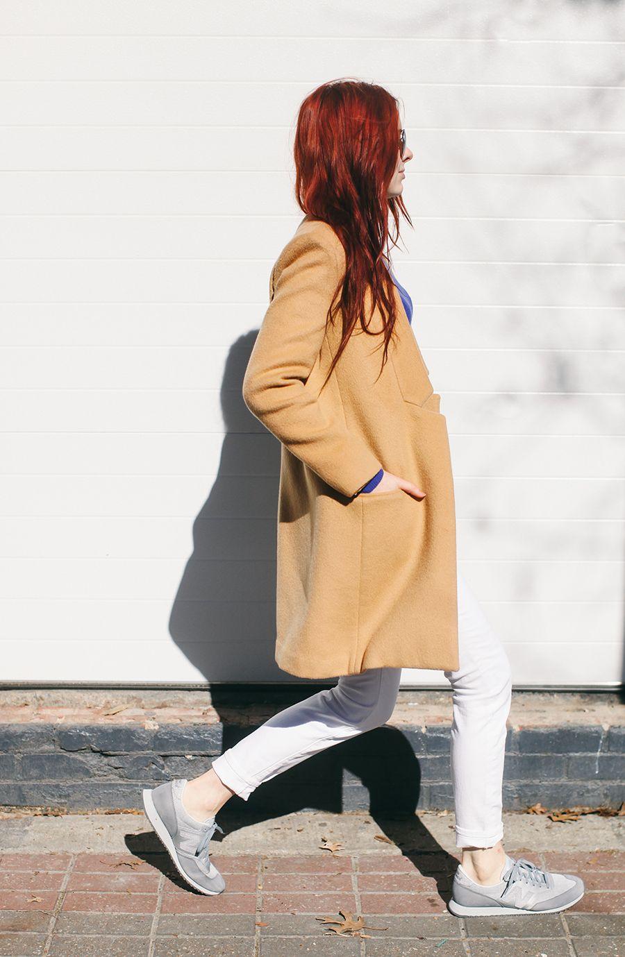 camel coat + sneakers