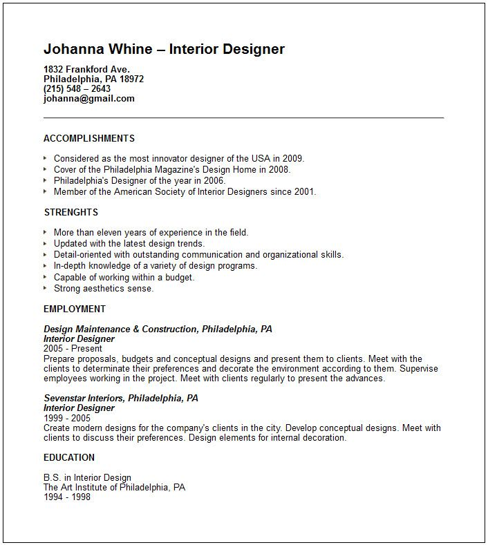 creative arts and graphic design resume examples designer - interior designer resume sample