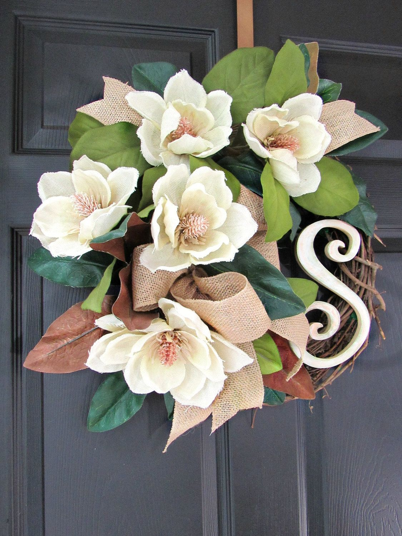 Photo of Summer Magnolia wreath, Summer door wreath, Initial wreath, Southern, Monogram, Garden, Wreaths for Summer, Door decor, Summer wreaths