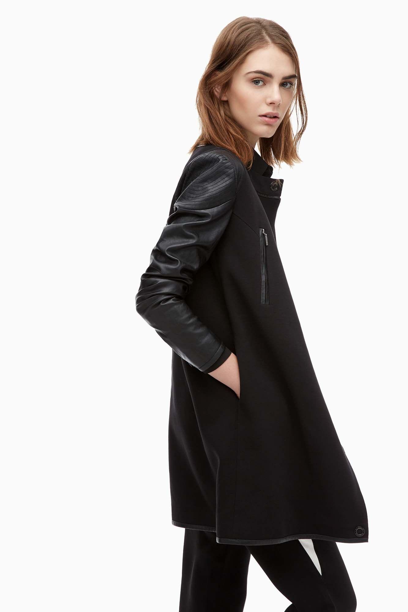 abrigo motero con mangas de eco piel prendas de abrigo