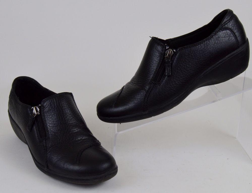 Clarks Bendables Women's Shoes Size 7 M Black Leather Side