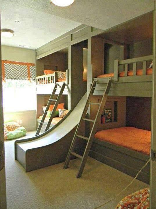 4 Camas Con Escaleras Y Tobogan Dormitorios
