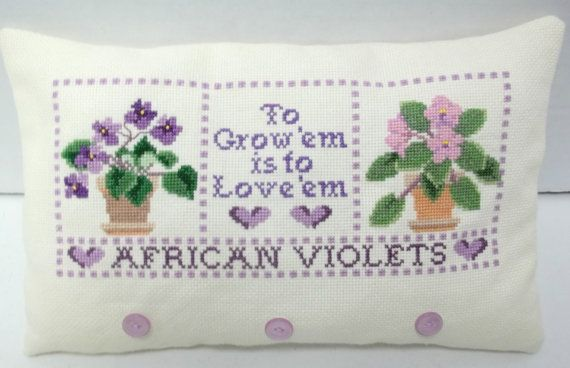 African Violet Mini Pillow Completed
