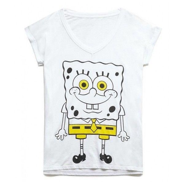 SpongeBob Print V Neck T-Shirt ($23) ❤ liked on Polyvore