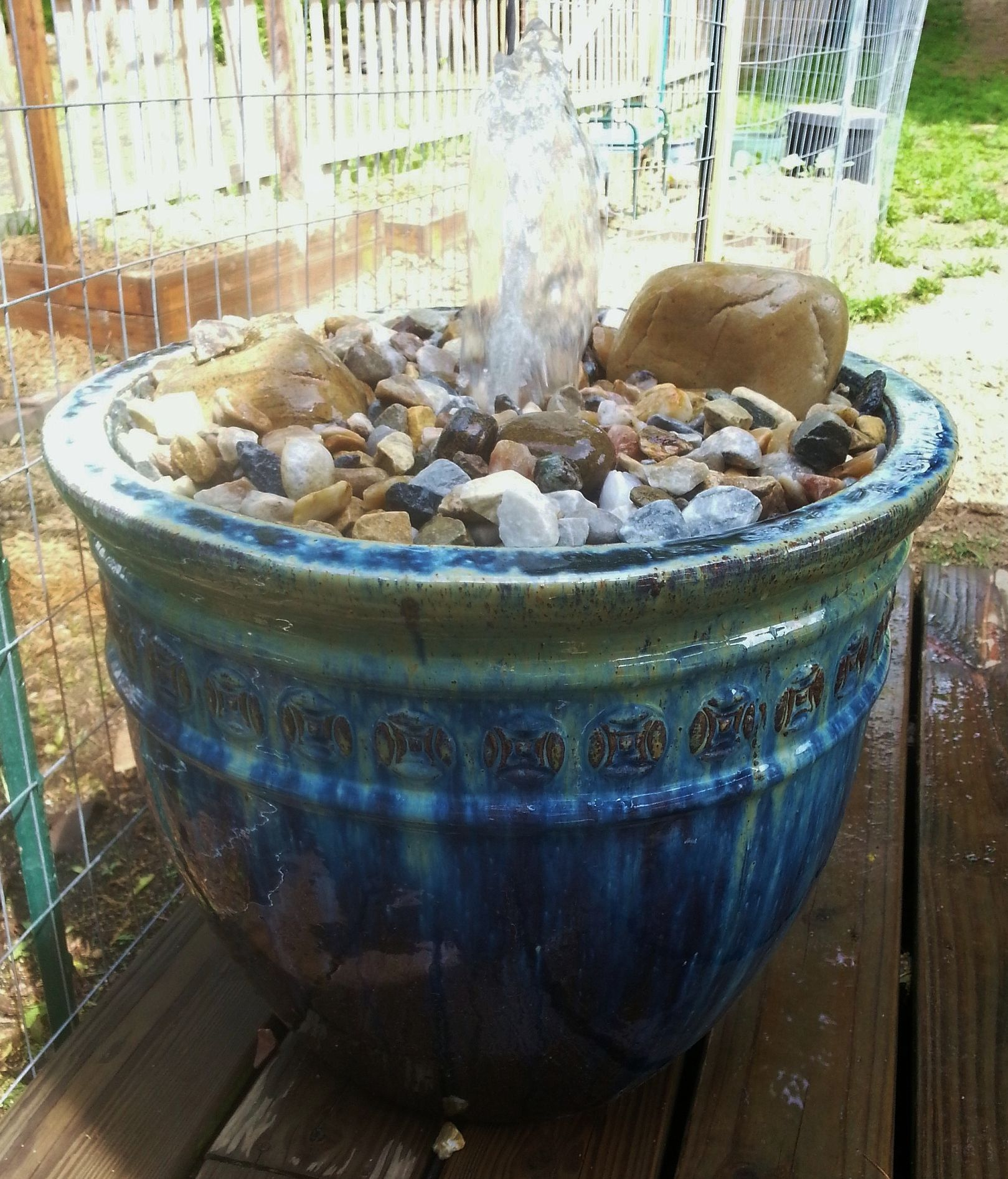 45 Water Feature Pot From Marshalls Bag Of Lowes Rocks Few
