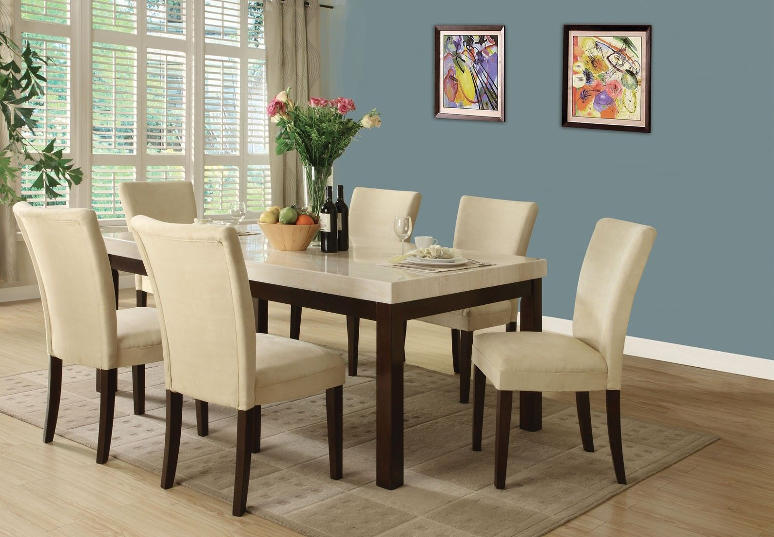 Acme Kyle 7 Piece Espresso And White Faux Marble Dining Set