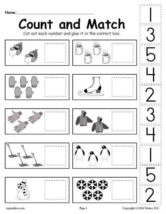 Free Printable Winter Counting And Matching Cut And Paste Worksheet