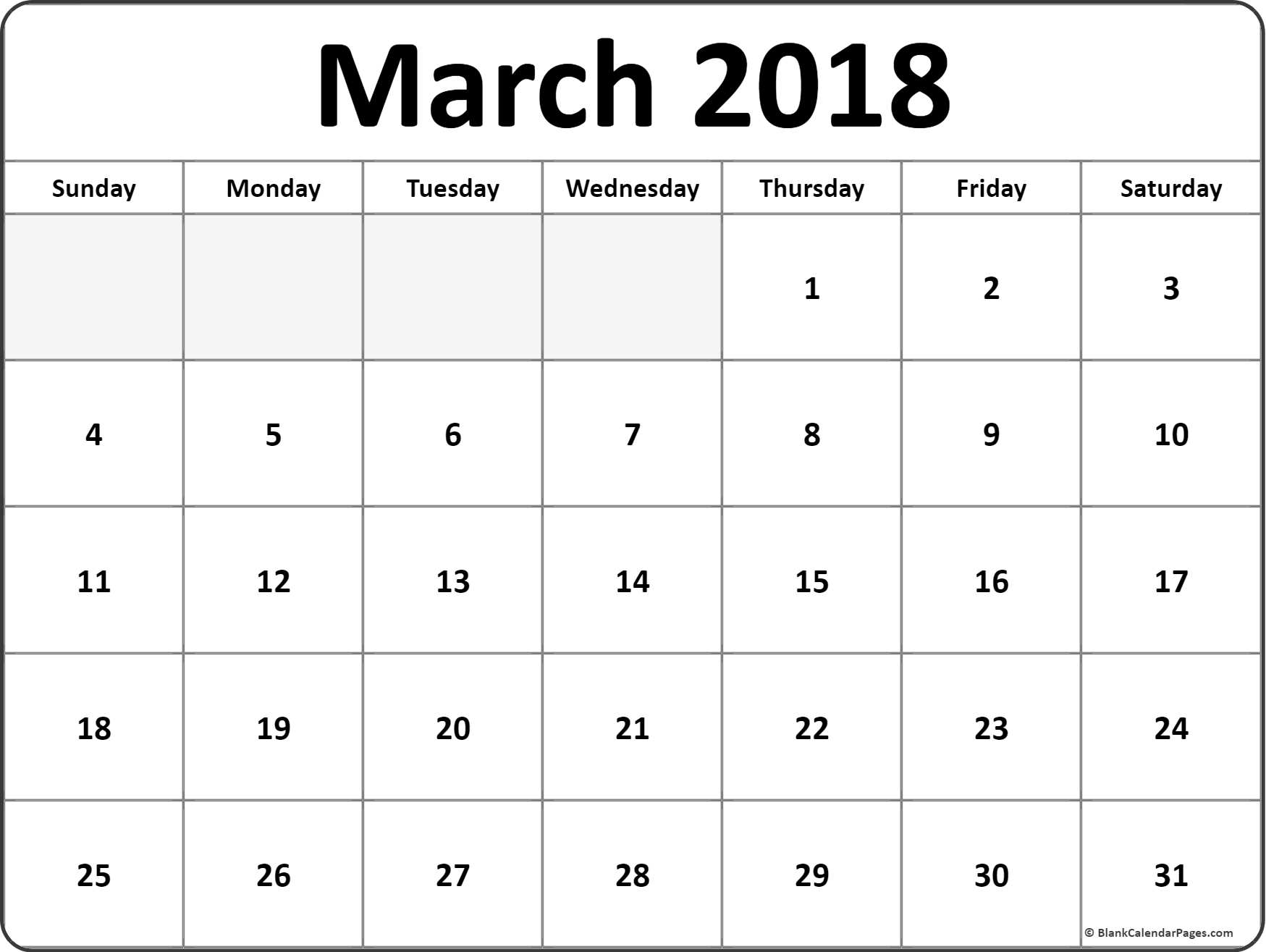 March Monthly Calendar Printout March Printable