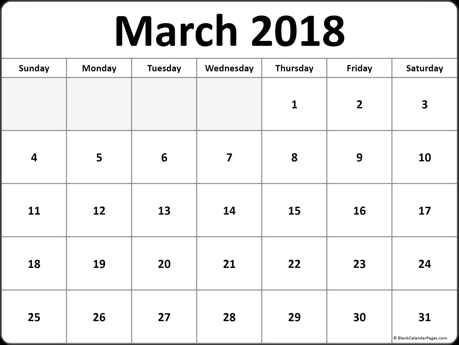 free calendar printouts 2018