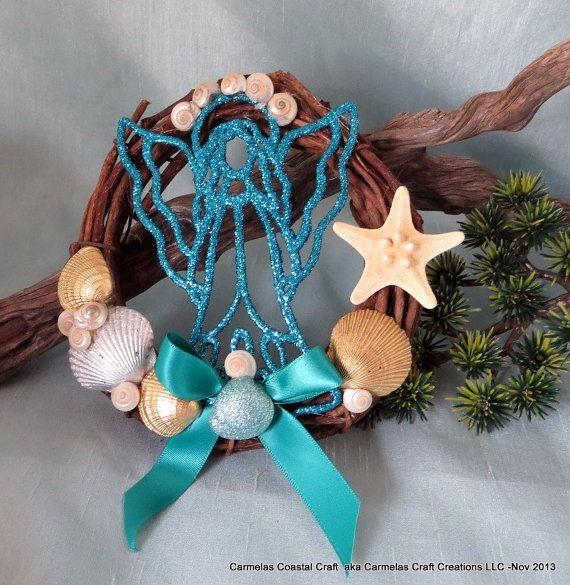 Coastal Christmas Angel beach wreath with by CarmelasCoastalCraft