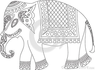 Indian Elephant Elephant Outline Painted Indian Elephant Elephant Sketch