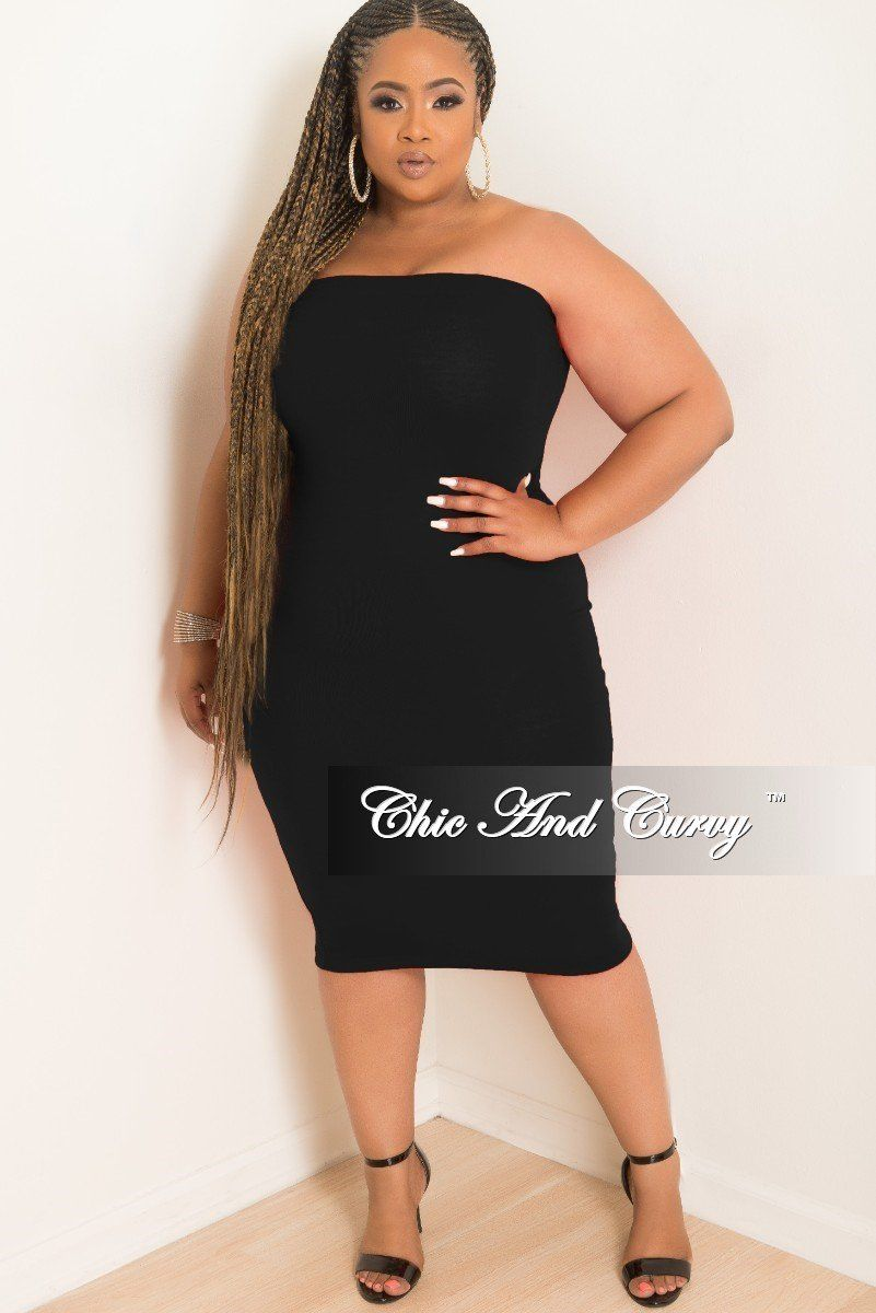 Plus Size Tube Dress/Skirt in Black – Chic And Curvy | Chic And ...