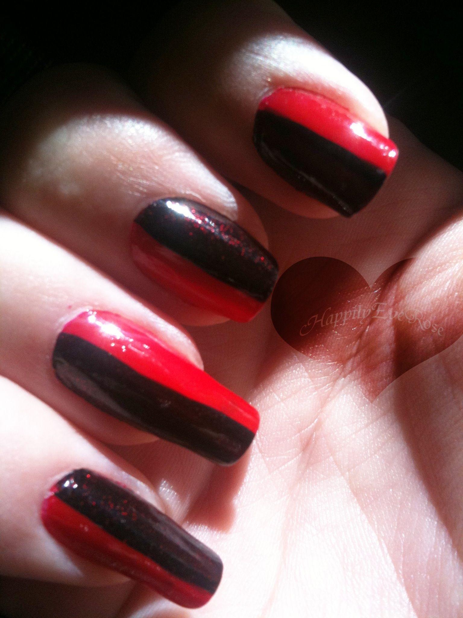 Dark black & red nail design | Nails | Pinterest | Red nail designs ...