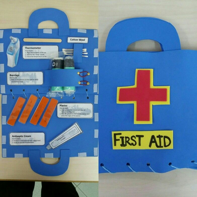 Made This For Teacher Grace S K1 Kids Interactive First Aid Kit With Velcros For The Dramatic Play Centr Preschool Art Activities First Aid For Kids First Aid