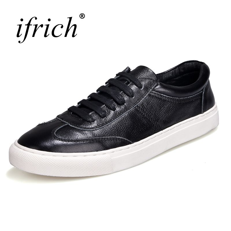 Ifrich 2018 New Genuine Leather Casual Shoes Men White Black Mens Fashion  Sneakers Lace Up Spring