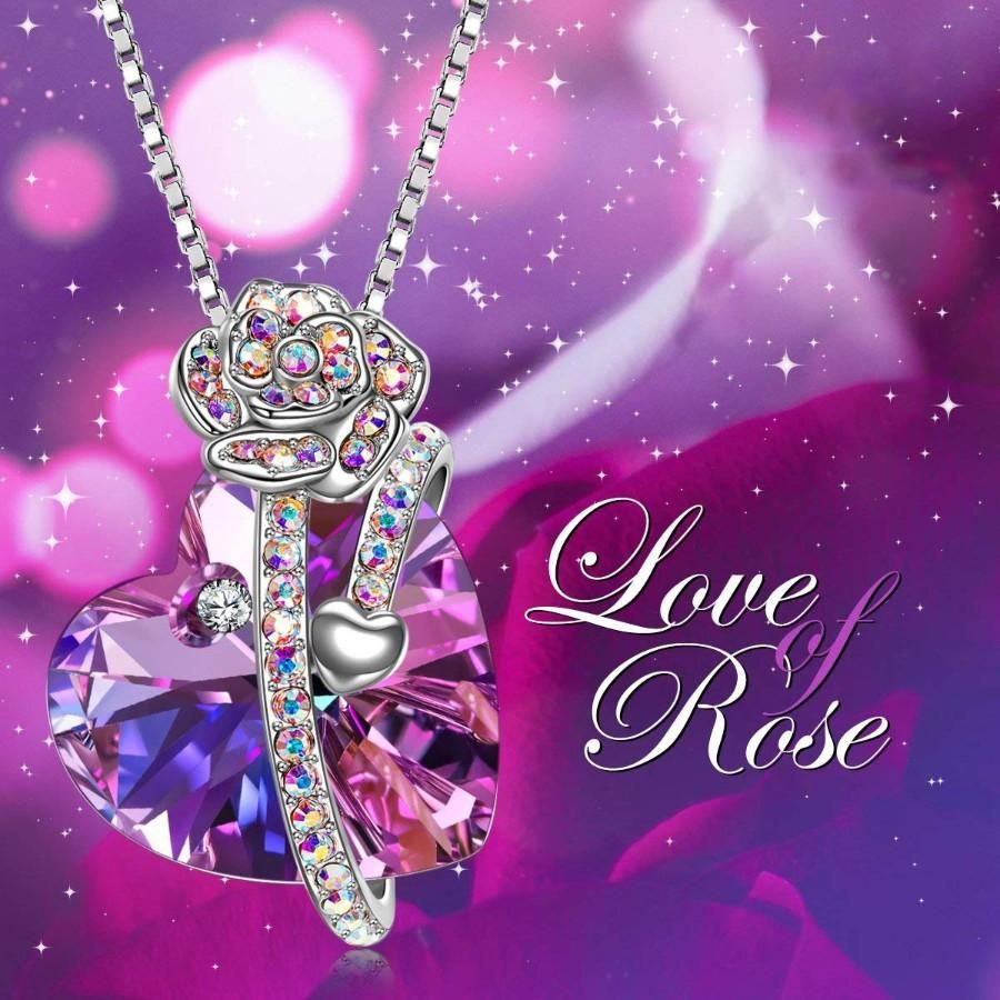 Photo of Purple and Pink Austrian Elements Heart Shaped Necklace in 14K White Gold
