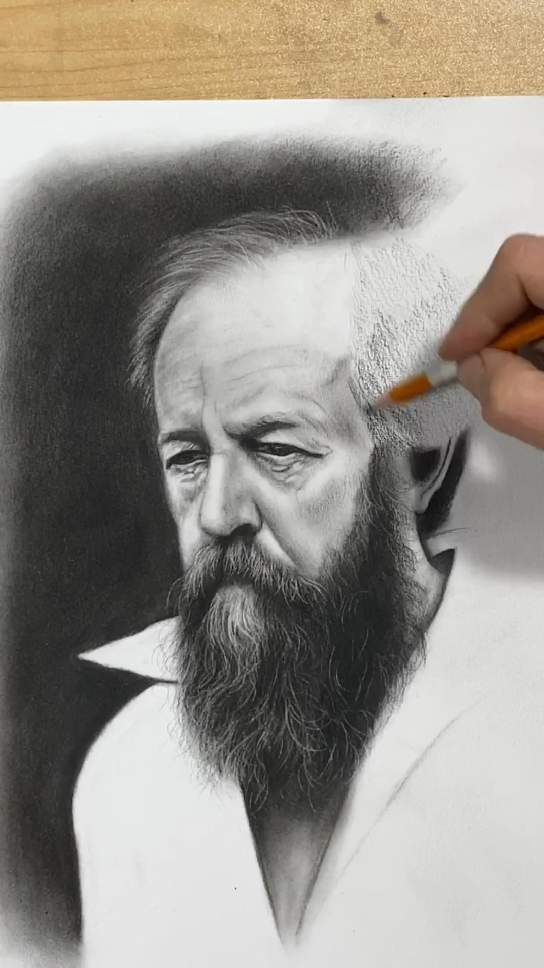 "Realistic charcoal drawing portrait of Alexander Solzhenitsyn sketching by classical realism artist Eric Armusik pencil on paper, 11 x 14"" 2020 #realistic #charcoaldrawing #portraitdrawing #drawing #drawingtips #drawingpeople #sketching #pencilsketch #pencildrawings"