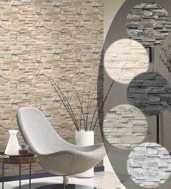 Steintapete 3D Vliestapete Stein Optik P+S Einfach schöner Tapete - steintapete beige wohnzimmer