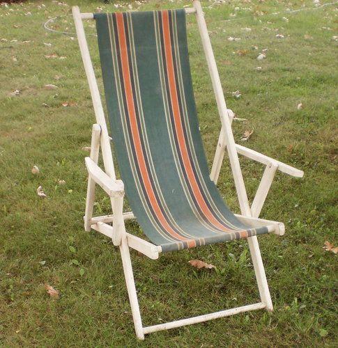 antique beach chair barrel back cane vintage wood deck canvas sling retro 50 s mcm lounge
