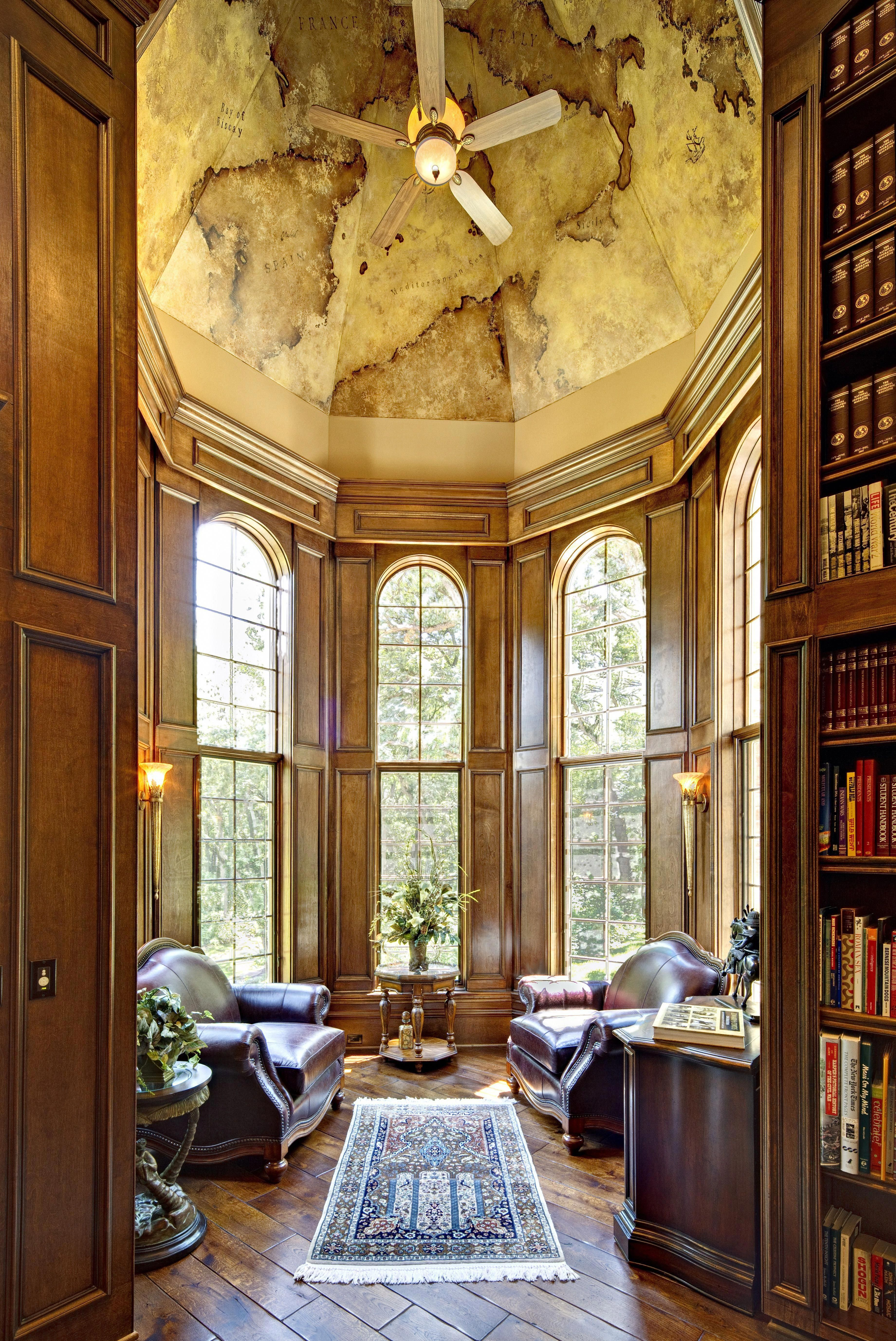 Turret Room On Custom Home Luxury Study With Custom Old World Europe Mural Europehomedecora French Style Homes European Home Decor Traditional Home Offices
