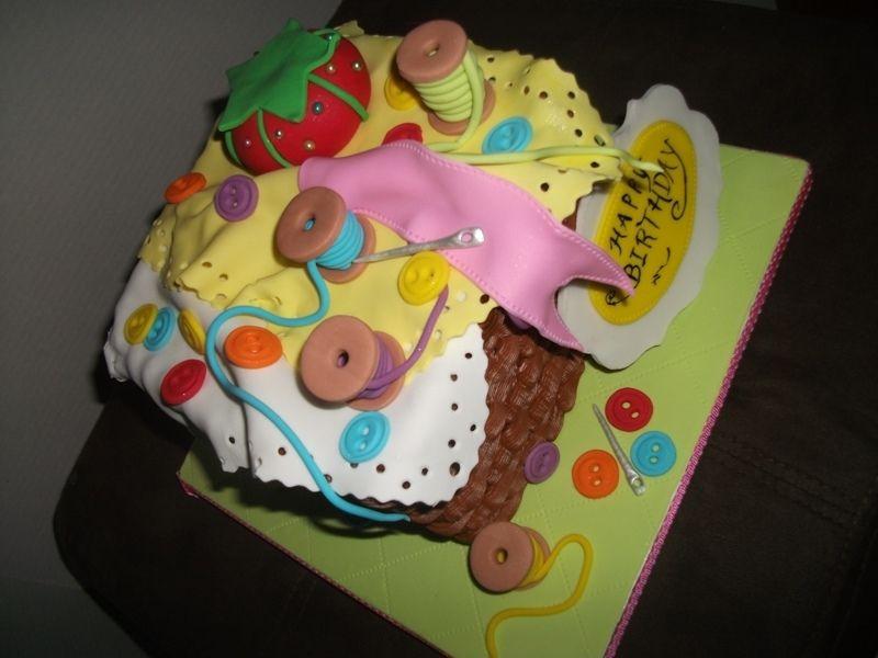 button ribbon birthday cakes | Sewing Cake — Birthday Cakes