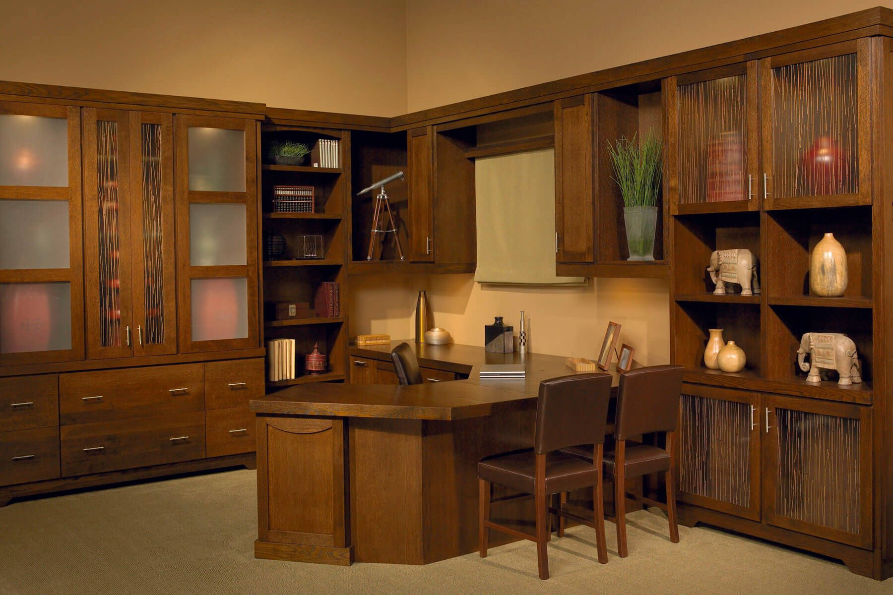 custom built home office. custom l-shaped built home office workstation with u-shaped desk and plenty of\u2026 e