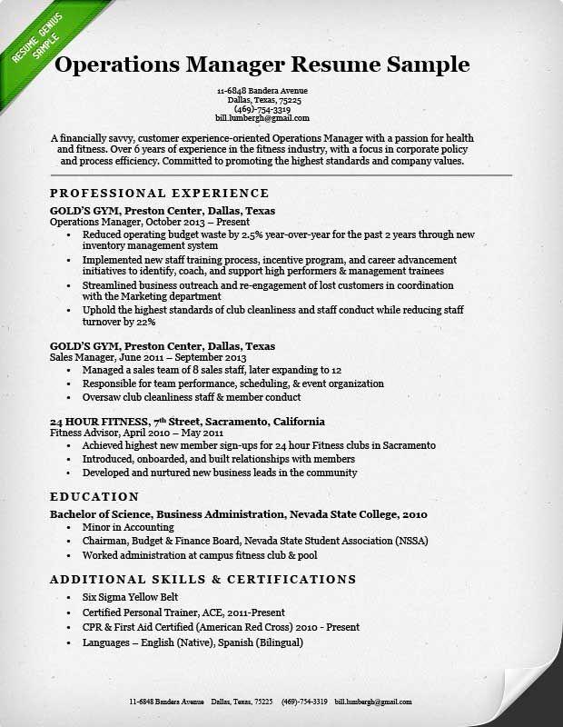 Operations Manager Resume Sample Genius Administrative Sample Resume Cover Letter Business Resume Sample Resume