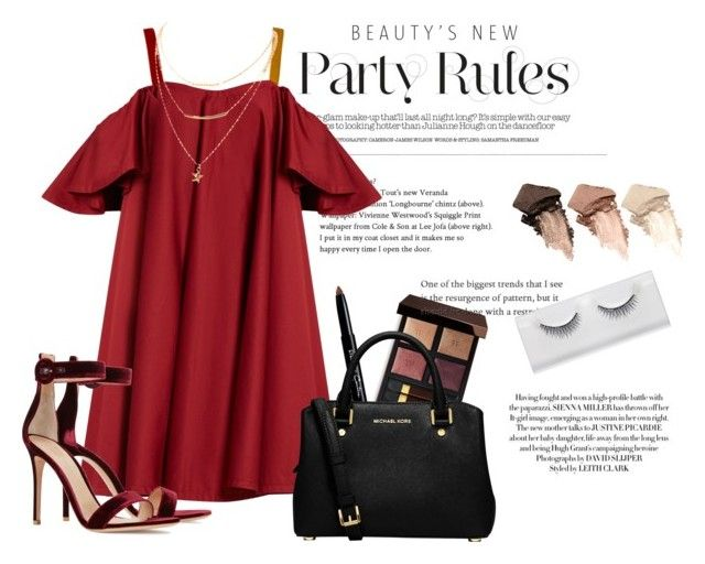 """""""Party Wear ; Stylish Red"""" by queenkhushi ❤ liked on Polyvore featuring Tom Ford, Anna October, Givenchy, MICHAEL Michael Kors, Gianvito Rossi and Urban Decay"""