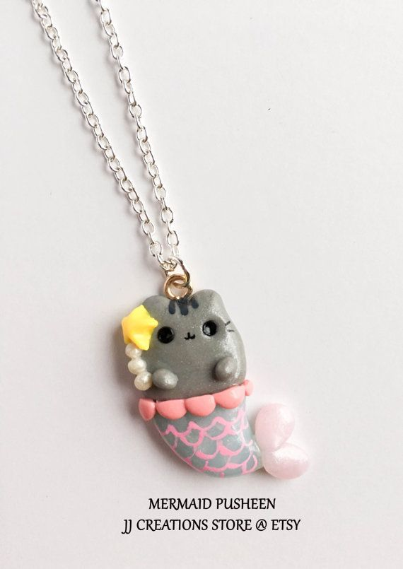 5160487bab59 Kawaii Pusheen cat mermaid necklace Pusheen by JJcreationsStore Almohadas