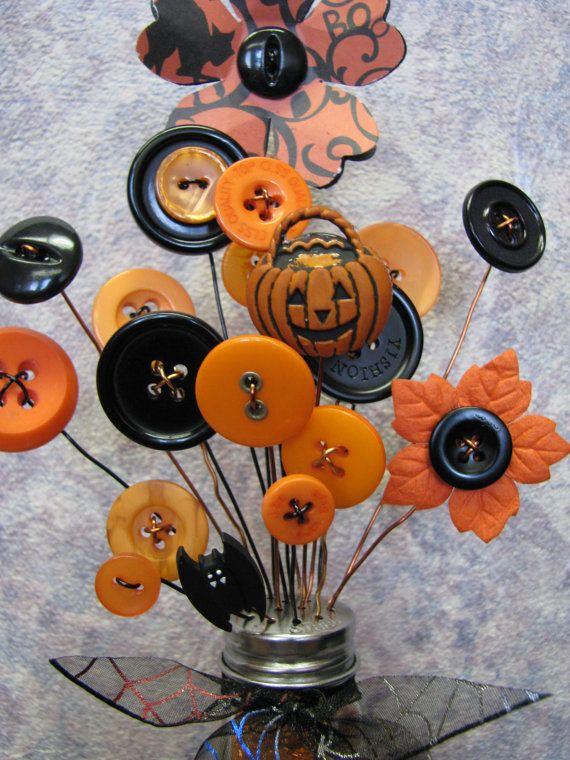 Button Bouquet Salt Shaker Button Flowers Bouquet Halloween October ...
